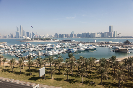 Elevated view over the Abu Dhabi marina and city skyline. United Arab Emirates, Middle East