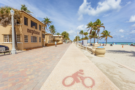 Hollywood Beach, Fl, USA - March 13, 2017: Bikeway at the Hollywood Beach Broad Walk on a sunny day in March. Florida, United States