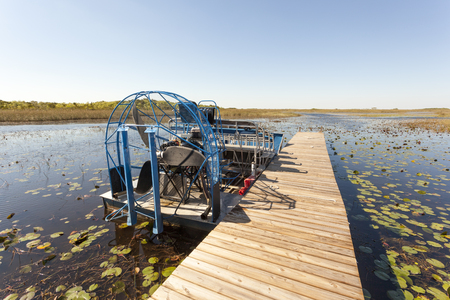 Airboat at a jetty in the Everglades National Park. Florida, United States Stock Photo