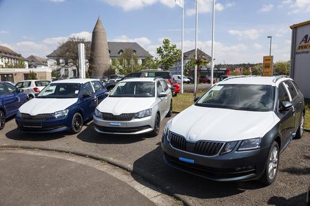 Frankfurt, Germany - March 30, 2017: New Skoda Fabia and Octavia cars at a dealership in Frankfurt, Germany