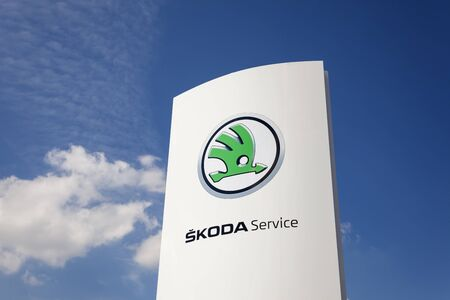 Frankfurt, Germany - March 30, 2017: Skoda automobile dealership in the city of Frankfurt, Germany Editorial
