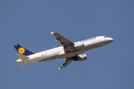 Frankfurt, Germany - March 30, 2017: Lufthansa airlines Airbus A320-200 after take off at the Frankfurt international airport