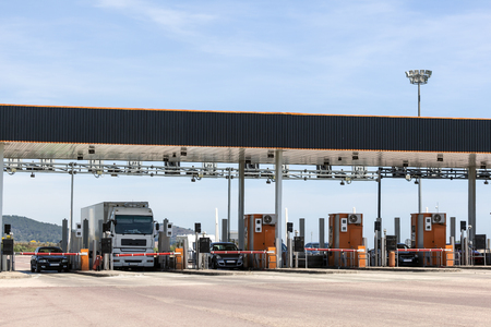 Toll gate on the highway in southern Spain Banque d'images