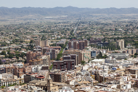 Panoramic view over the city of Lorca. Province of Murcia, Spain