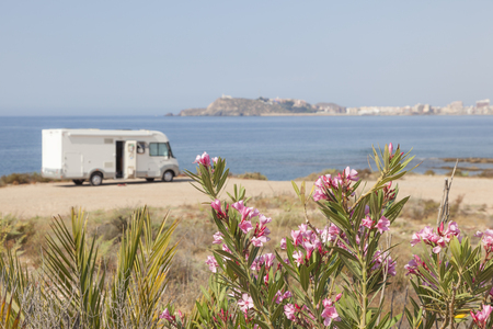 Mobile home at the mediterranean coast in southern Spain Stock Photo