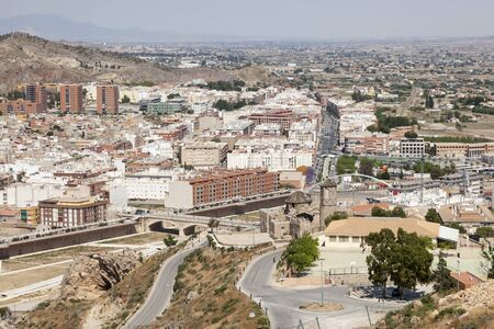 Panoramic view over the old town of Lorca, province of Murcia, southern Spain Banco de Imagens - 93923840