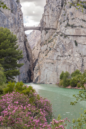 Gorge of the Gaitanes with the footbridge of El Caminito del Rey (Kings Little Path). Ardales, Province of Malaga, Spain