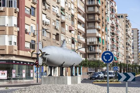 Cartagena, Spain - May 28, 2017: Replica of the historic Peral submarine in the city of Cartagena, Murcia province, Spain Editorial
