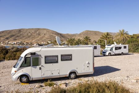 Motorhomes parked at the mediterranean coast in southern Spain