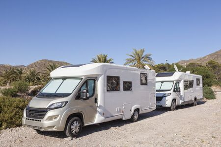 Motorhomes parked at the mediterranean coast in southern Spain Stock Photo - 83079810