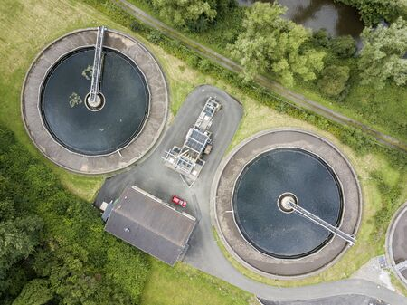 Aerial view of a small sewage treatment plant