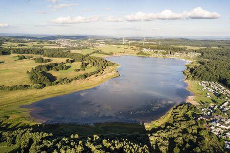 Aerial view of the dam lake Krombach (Krombacher Talsperre) in Westerwald region. Hesse, Germany