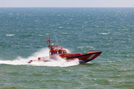 Huelva, Spain - June 4, 2017: Sea rescue boat in the atlantic ocean near Huelva. Andalusia, Spain