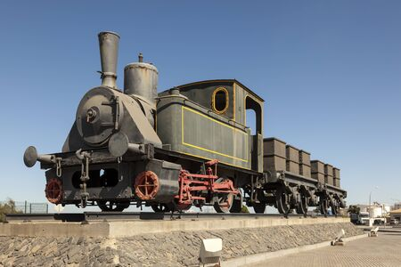 freight train: Old historic steam train in the port of Huelva, Spain