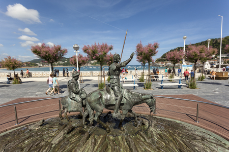 San Sebastian, Spain - June 7, 2017: Statue of Don Quixote and Sancho Panza on the promenade of San Sebastian Donostia. Basque country, Spain