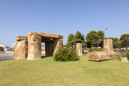 Stone henge in the roundabout of town Matalascanas, Andalusia, Spain