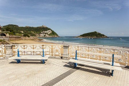 Promenade at the La Concha beach in San Sebastian, Donostia. Basque country, Spain