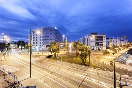 Streets in the city of Huelva illuminated at night. Andalusia, Spain Stock Photo