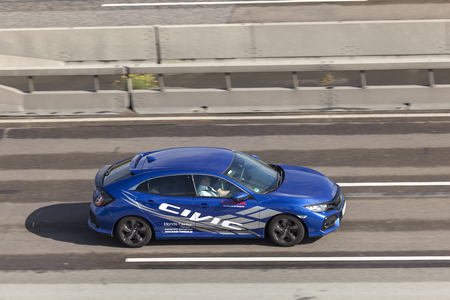 Frankfurt, Germany - Sep 19, 2017: Tenth generation Honda Civic driving on the highway in Germany