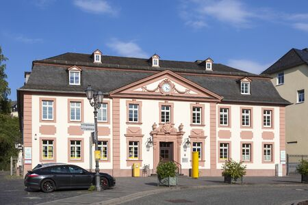Weilburg, Germany - Sep 3, 2017: Postbank and DHL building in the historic town Weilburg, Germany