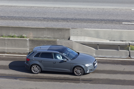Frankfurt, Germany - Sep 19, 2017: Audi A3 Sportback  hatchback driving on the highway in Germany Editorial