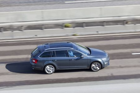 Frankfurt, Germany - Sep 19, 2017: Third generation (Typ 5E) Skoda Octavia Estate driving on the highway in Germany