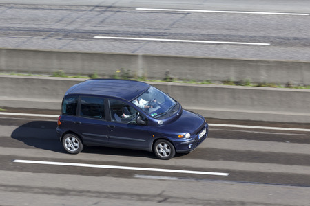 Frankfurt, Germany - Sep 19, 2017: Compact italian MPV Fiat Multipla driving on the highway in Germany