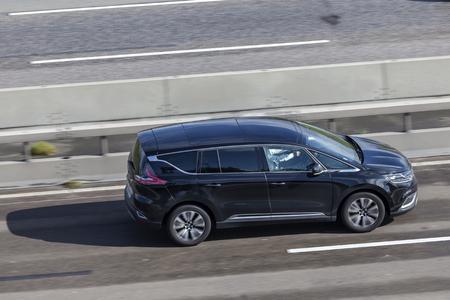 Frankfurt, Germany - Sep 19, 2017: New Renault Espace van driving on the highway in Germany Editorial