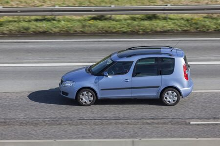 Frankfurt, Germany - Sep 19, 2017: Skoda Roomster family mpv driving on the highway in Germany