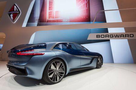 Frankfurt, Germany - Sep 20, 2017: The Borgward Isabella Cocept Car presentation at the Frankfurt International Motorshow 2017 Editorial
