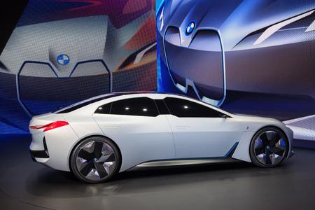 Frankfurt, Germany - Sep 20, 2017: New BMW i Vision Dynamics Concept car  presentation at the Frankfurt International Motorshow 2017