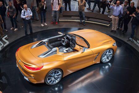 Frankfurt, Germany - Sep 20, 2017: New BMW Z4 Roadster concept presentation at the Frankfurt International Motorshow 2017 Editorial