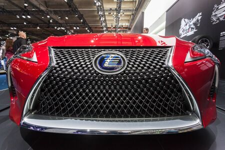 Frankfurt, Germany - Sep 20, 2017: Lexus hybrid luxury SUV front grill at the Frankfurt International Motorshow 2017