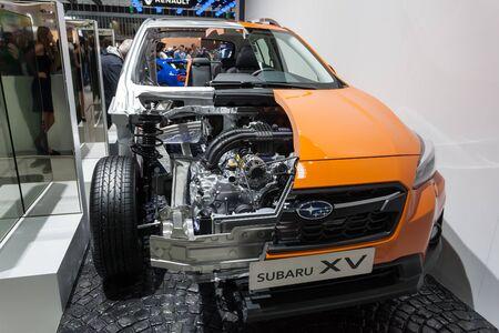 Frankfurt, Germany - Sep 20, 2017: Subaru XV cross section at the Frankfurt International Motorshow 2017