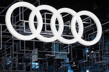 Frankfurt, Duitsland - sep 20, 2017: Audi bedrijfslogo op de Frankfurt International Motorshow (IAA) 2017