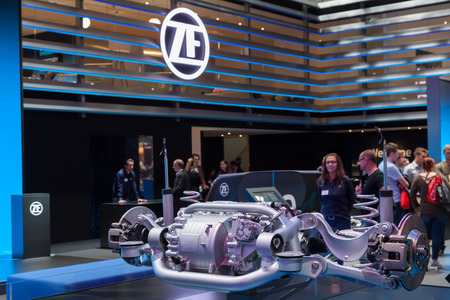 Frankfurt, Germany - Sep 20, 2017: Rear Axle from the ZF Friedrichshafen autmotive supplier at the IAA 2017 at the Frankfurt International Motorshow 2017