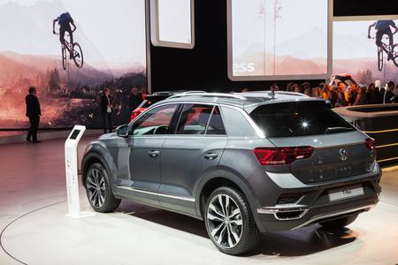 Frankfurt, Germany - Sep 20, 2017: New Volkswagen T-Roc SUV at the Frankfurt International Motorshow (IAA) 2017