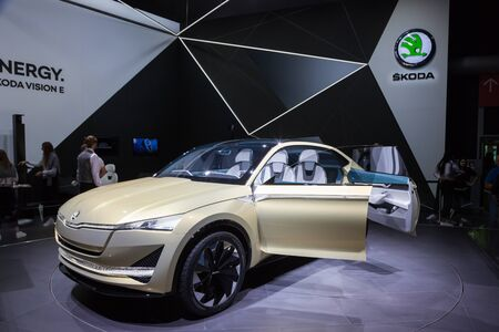 Frankfurt, Germany - Sep 20, 2017: Skoda Vision E electric concept car at the Frankfurt International Motorshow (IAA) 2017