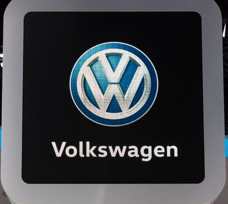 Frankfurt, Germany - Sep 20, 2017: Volkswagen corporate logo at the Frankfurt International Motorshow (IAA) 2017