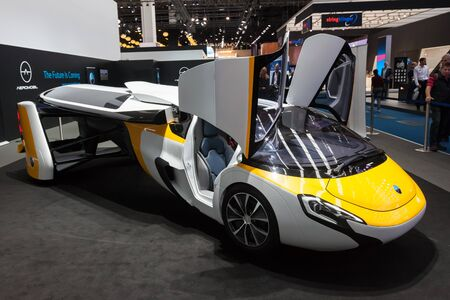 Frankfurt, Germany - Sep 20, 2017: AeroMobil roadable aircraft concept car at the Frankfurt International Motorshow (IAA) 2017