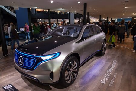 Frankfurt, Germany - Sep 20, 2017: Mercedes Benz Concept EQ electric car at the Frankfurt International Motorshow (IAA) 2017