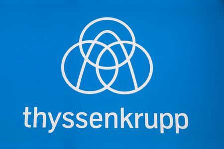 Frankfurt, Germany - Sep 20, 2017: Logo of the German  industrial group thyssenkrupp