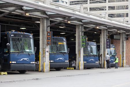 カナダ、トロント-10 月11日 2017: Grehound はトロントのシティターミナルでバスを運行しています。カナダオンタリオ州