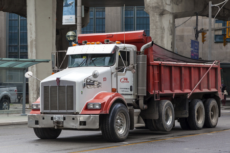 Toronto, Canada - Oct 11, 2017: The Kenworth T880 dump truck in the city of Toronto. Province of Ontario, Canada
