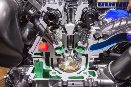 Cross section of an automobile combustion engine Stock Photo