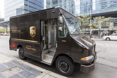 Toronto, Canada - Oct 14, 2017: United Parcel Service (UPS) delivery vehicle which runs with low emission on propane gas. Downtown of Toronto, Canada