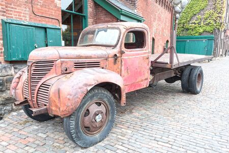Toronto, Canada - Oct 13, 2017: Old rusty truck at the historic Distillery District in the city of Toronto. Province of Ontario, Canada