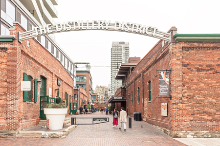 Toronto, Canada - Oct 13, 2017: Entrance to the historic Distillery District in the city of Toronto. Province of Ontario, Canada