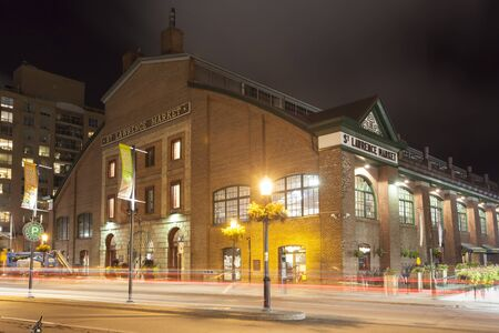 Toronto, Canada - Oct 16, 2017: Historic St Lawrence Market in the city of Toronto illuminated at night. Province of Ontario, Canada Editorial