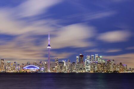 Skyline view of Toronto downtown at dusk. Province of Ontario, Canada